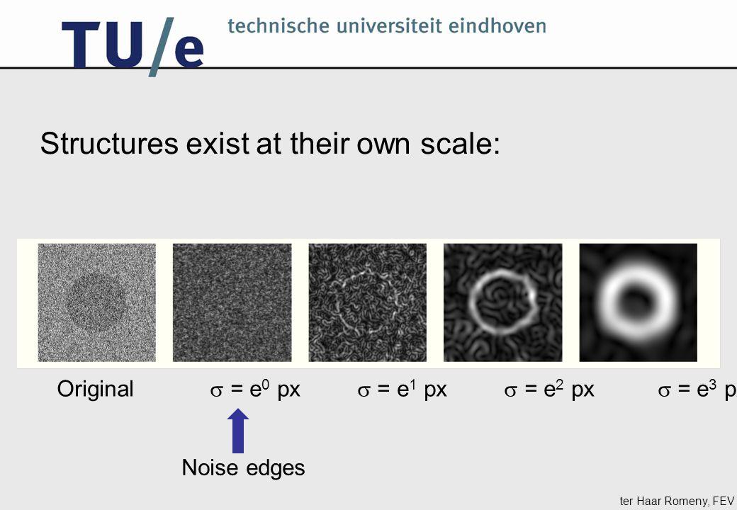 ter Haar Romeny, FEV Structures exist at their own scale: Original  = e 0 px  = e 1 px  = e 2 px  = e 3 px Noise edges