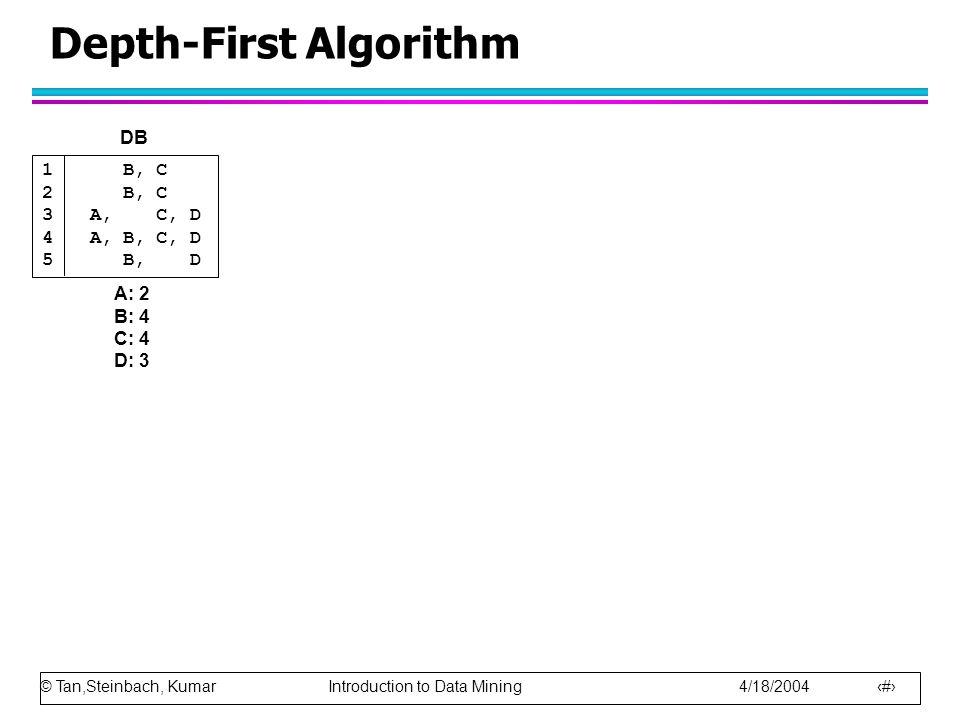© Tan,Steinbach, Kumar Introduction to Data Mining 4/18/2004 31 Depth-First Algorithm 1 B, C 2 B, C 3A, C, D 4A, B, C, D 5 B, D A: 2 B: 4 C: 4 D: 3 DB