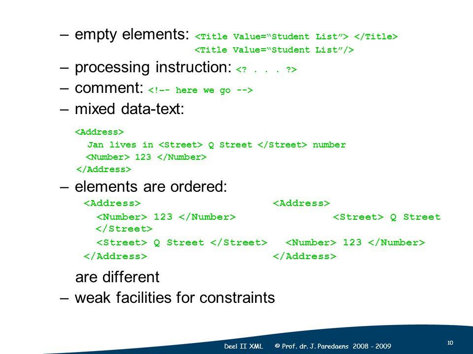 10 Deel II XML © Prof. dr. J. Paredaens 2008 - 2009 –empty elements: –processing instruction: –comment: –mixed data-text: Jan lives in Q Street number