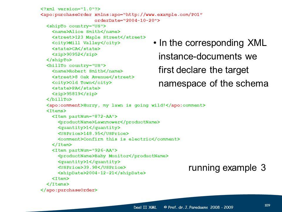 "109 Deel II XML © Prof. dr. J. Paredaens 2008 - 2009 <apo:purchaseOrder xmlns:apo=""http://www.example.com/PO1"" orderDate=""2004-10-20"