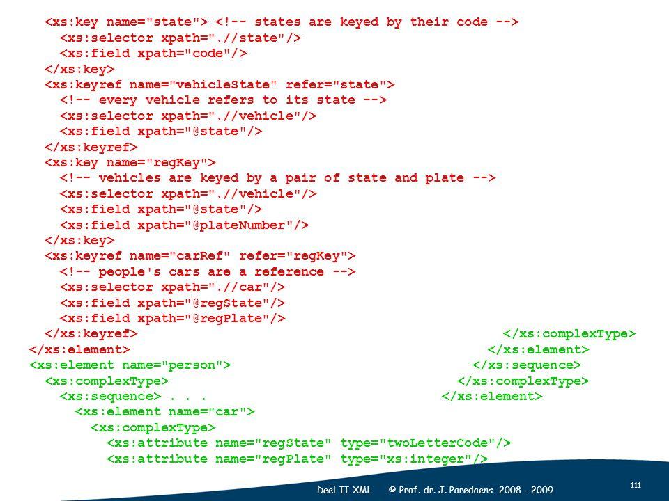 111 Deel II XML © Prof. dr. J. Paredaens 2008 - 2009...