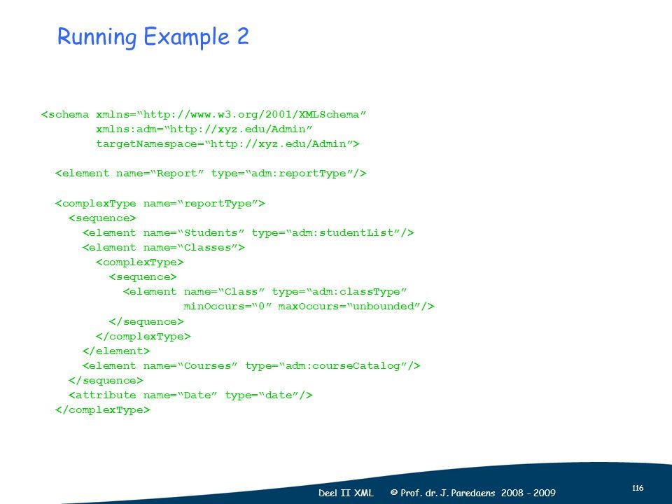 "116 Deel II XML © Prof. dr. J. Paredaens 2008 - 2009 Running Example 2 <schema xmlns=""http://www.w3.org/2001/XMLSchema"" xmlns:adm=""http://xyz.edu/Admi"