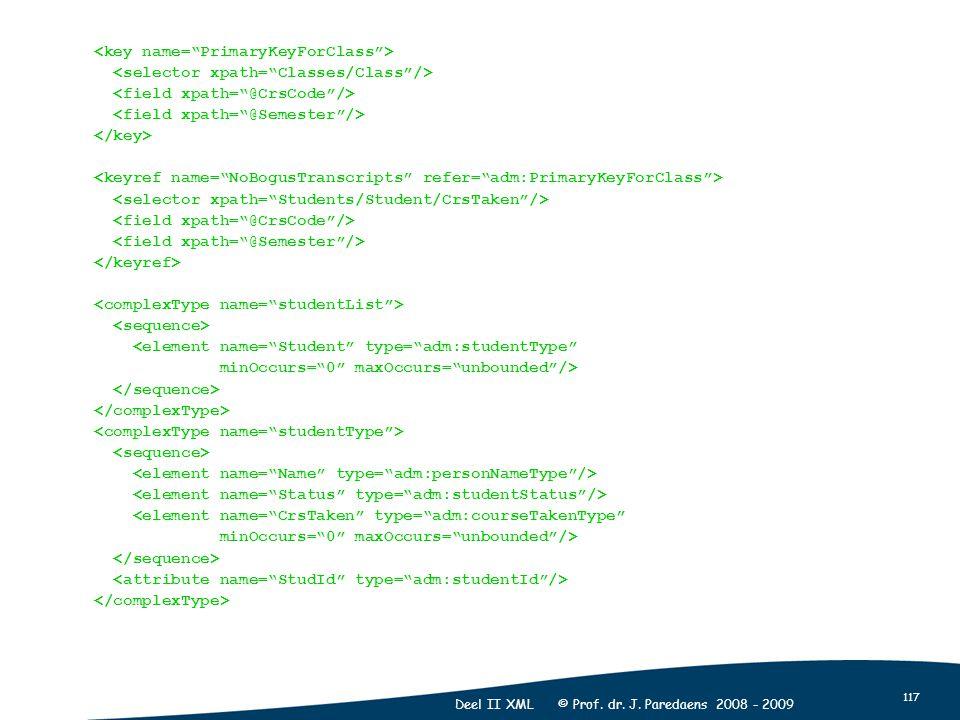"117 Deel II XML © Prof. dr. J. Paredaens 2008 - 2009 <element name=""Student"" type=""adm:studentType"" minOccurs=""0"" maxOccurs=""unbounded""/> <element nam"