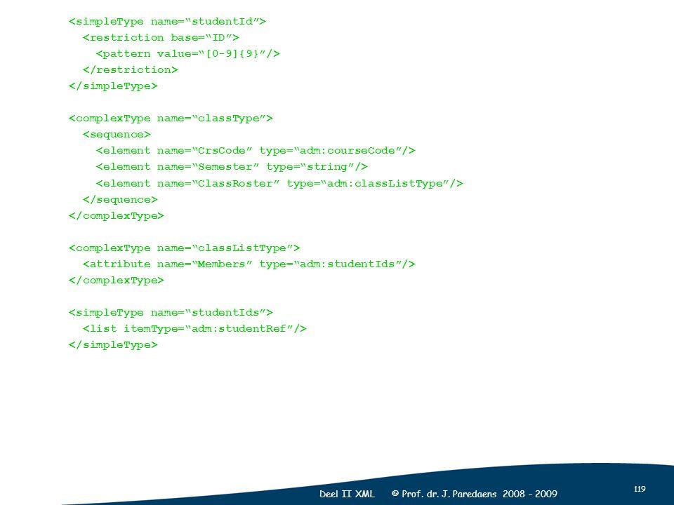 119 Deel II XML © Prof. dr. J. Paredaens 2008 - 2009