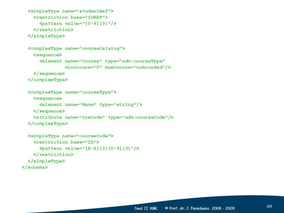 "120 Deel II XML © Prof. dr. J. Paredaens 2008 - 2009 <element name=""Course"" type=""adm:courseType"" minOccurs=""0"" maxOccurs=""unbounded""/>"