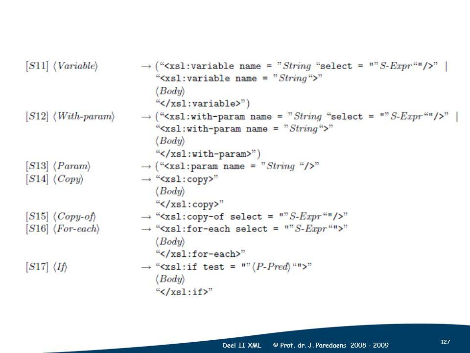 127 Deel II XML © Prof. dr. J. Paredaens 2008 - 2009