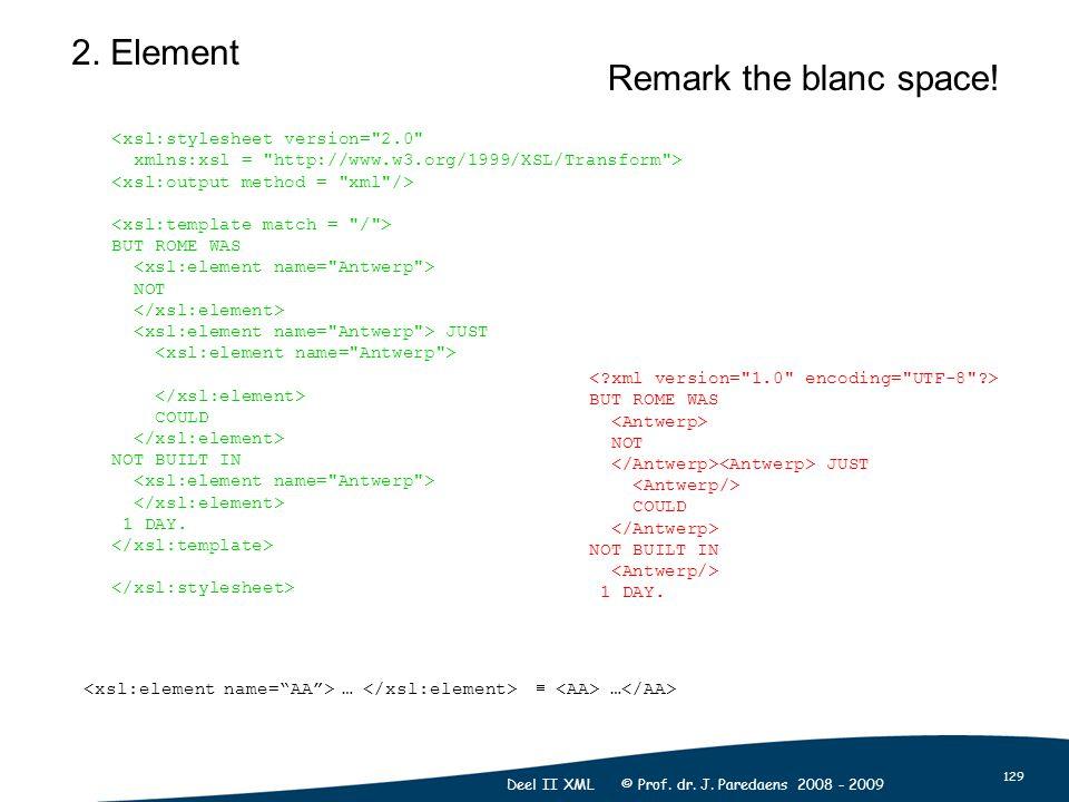 129 Deel II XML © Prof. dr. J. Paredaens 2008 - 2009 <xsl:stylesheet version=