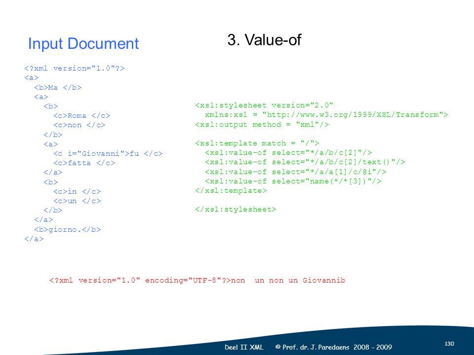 130 Deel II XML © Prof. dr. J. Paredaens 2008 - 2009 Ma Roma non fu fatta in un giorno. <xsl:stylesheet version=