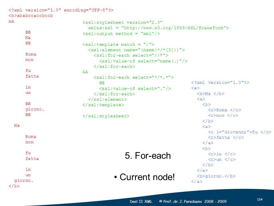 134 Deel II XML © Prof. dr. J. Paredaens 2008 - 2009 5. For-each Ma Roma non fu fatta in un giorno. <xsl:stylesheet version=