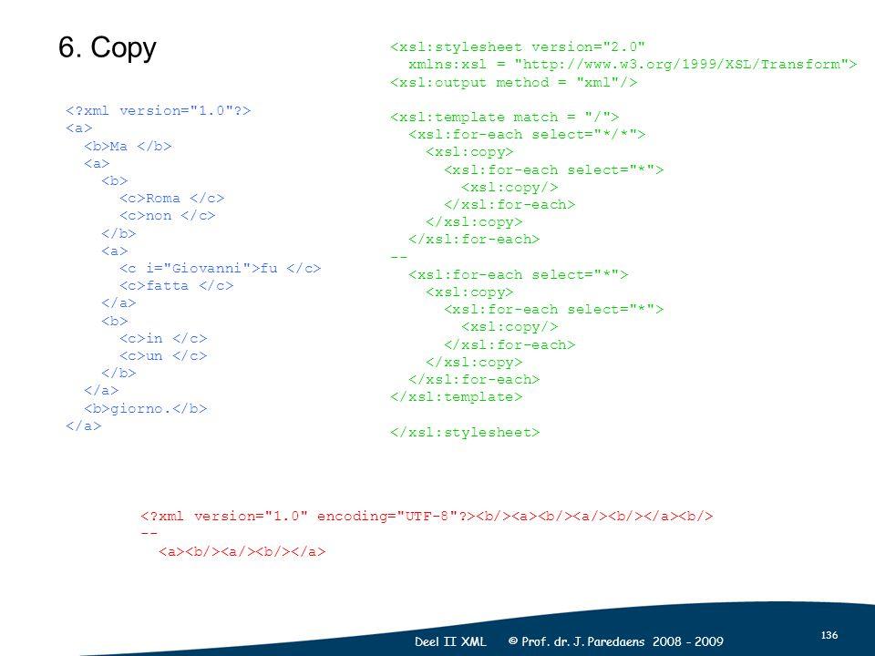 136 Deel II XML © Prof. dr. J. Paredaens 2008 - 2009 6. Copy Ma Roma non fu fatta in un giorno. <xsl:stylesheet version=
