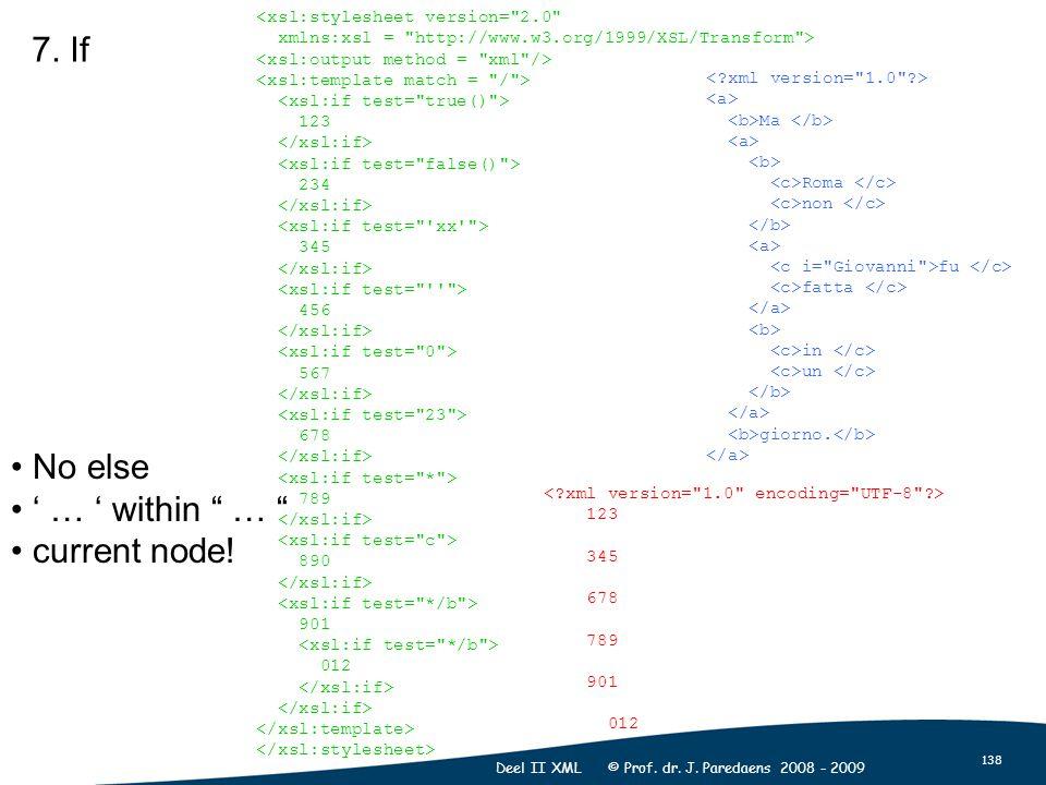 138 Deel II XML © Prof. dr. J. Paredaens 2008 - 2009 7.