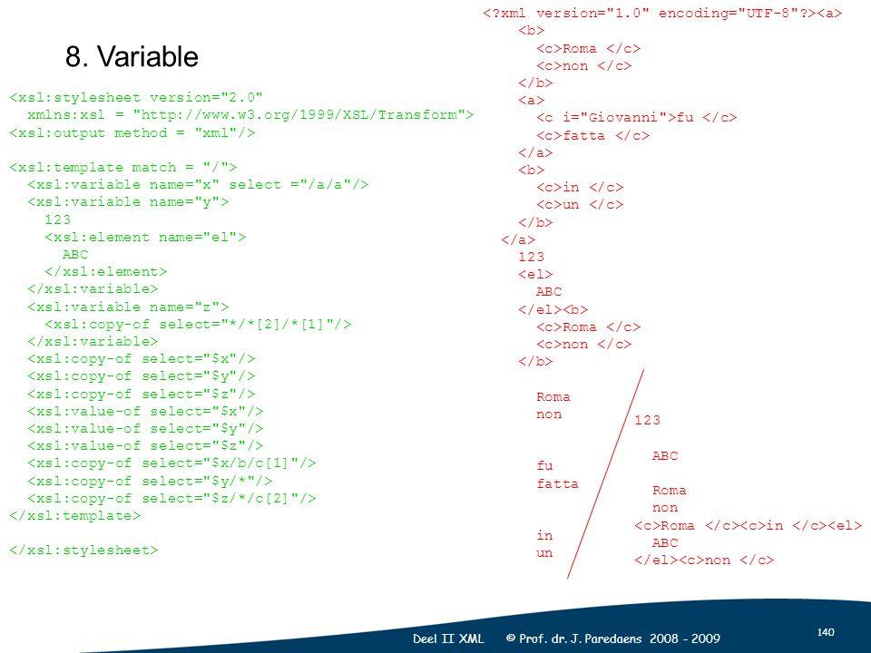 140 Deel II XML © Prof. dr. J. Paredaens 2008 - 2009 8.