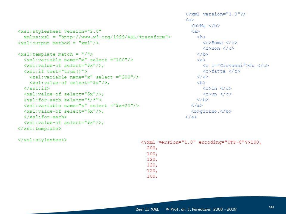 141 Deel II XML © Prof. dr. J. Paredaens 2008 - 2009 <xsl:stylesheet version=