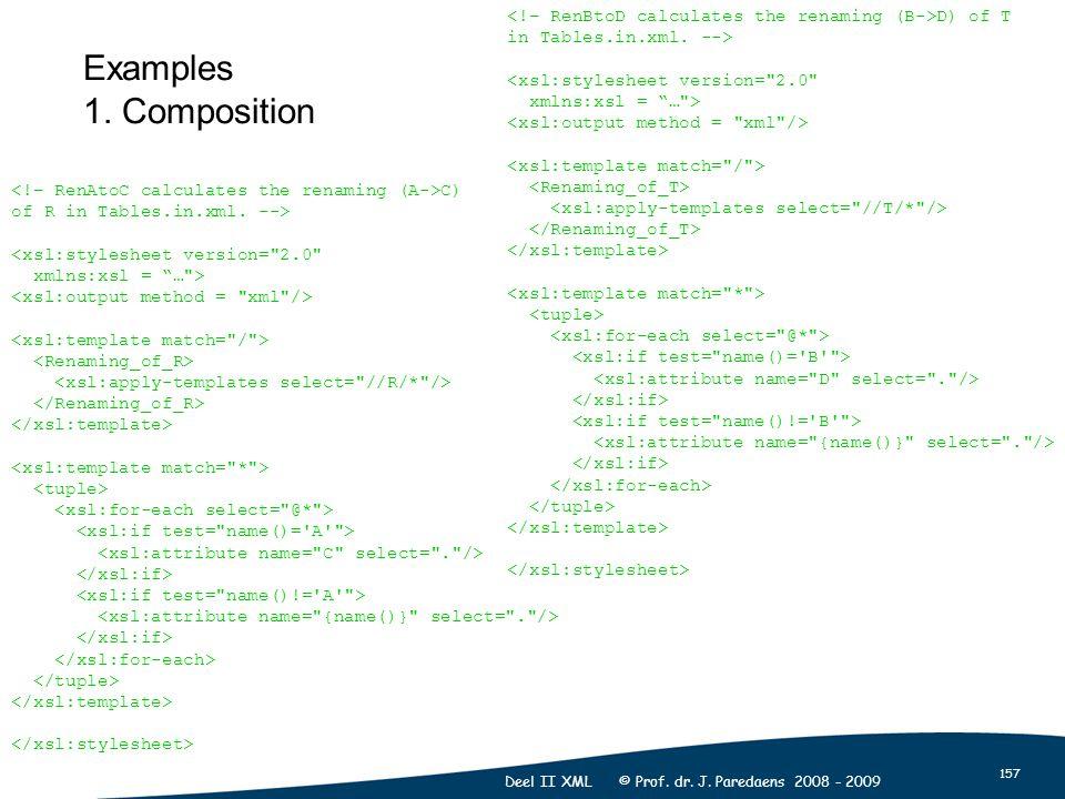 157 Deel II XML © Prof. dr. J. Paredaens 2008 - 2009 Examples 1.