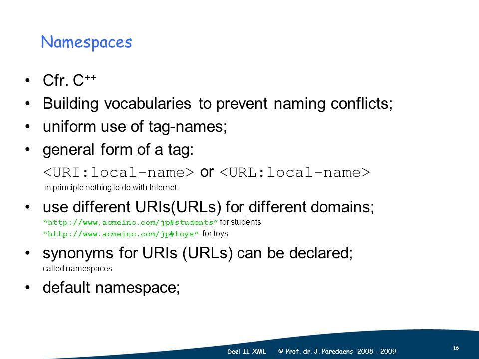 16 Deel II XML © Prof. dr. J. Paredaens 2008 - 2009 Cfr.