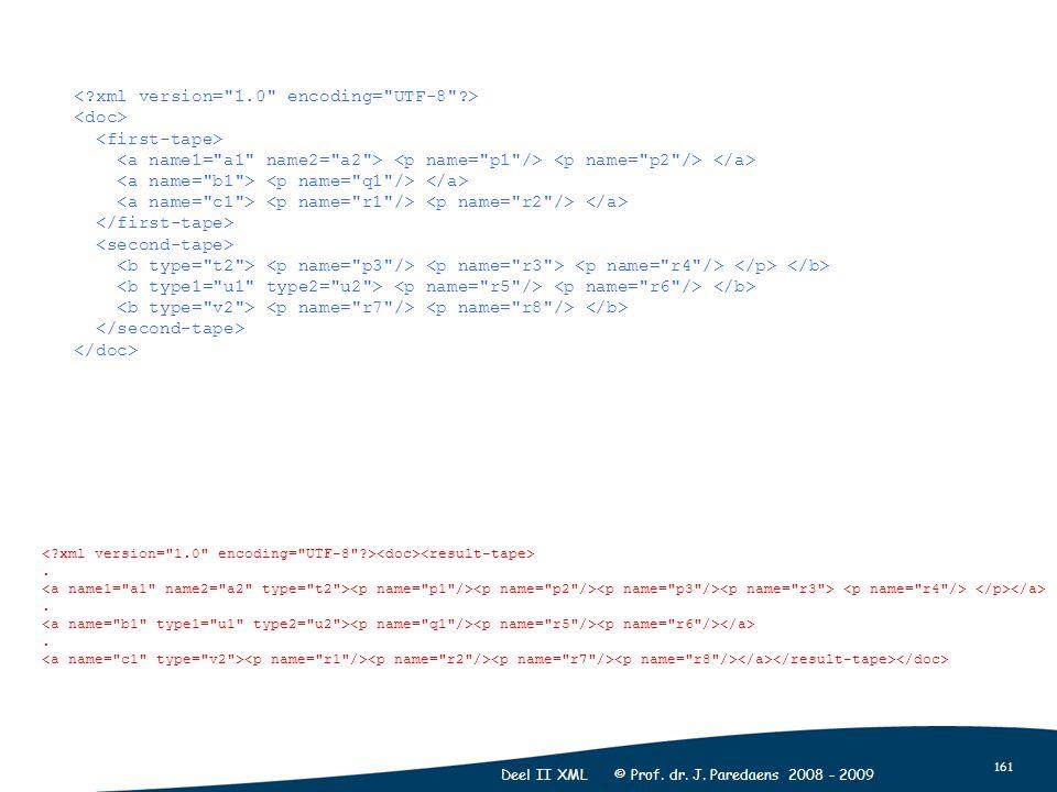161 Deel II XML © Prof. dr. J. Paredaens 2008 - 2009...