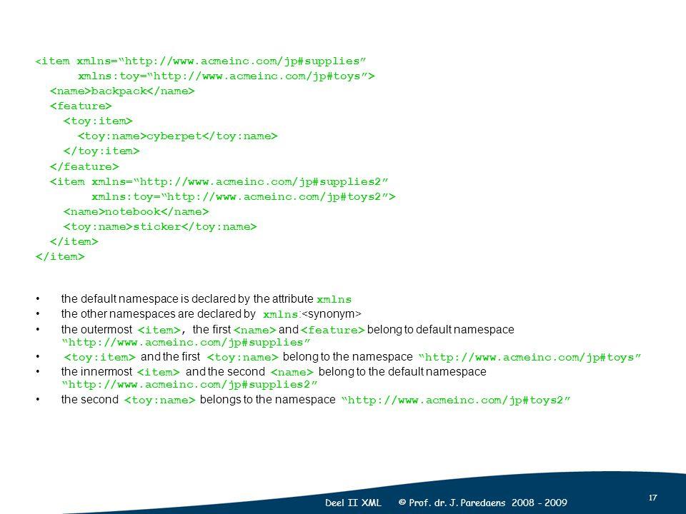 "17 Deel II XML © Prof. dr. J. Paredaens 2008 - 2009 < item xmlns=""http://www.acmeinc.com/jp#supplies"" xmlns:toy=""http://www.acmeinc.com/jp#toys""> back"