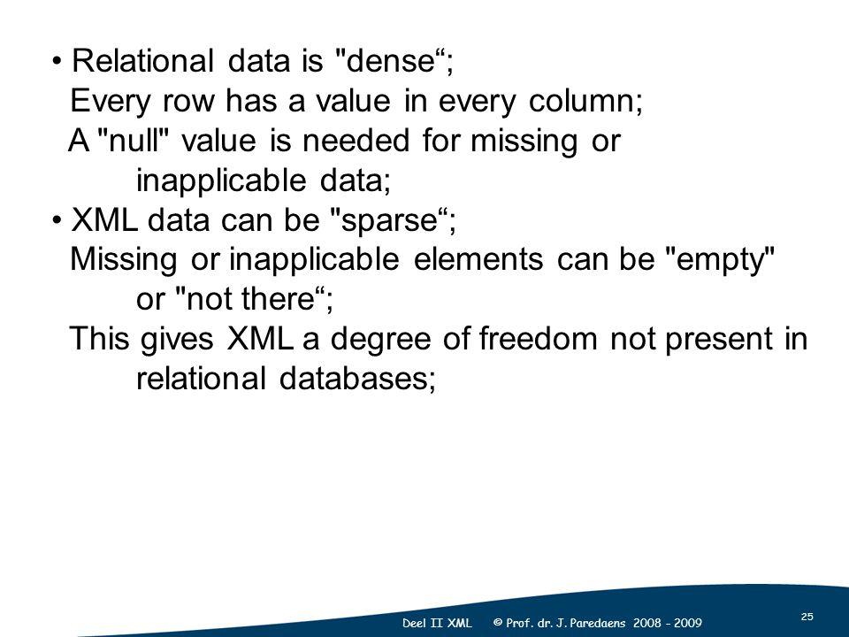 25 Deel II XML © Prof. dr. J. Paredaens 2008 - 2009 Relational data is