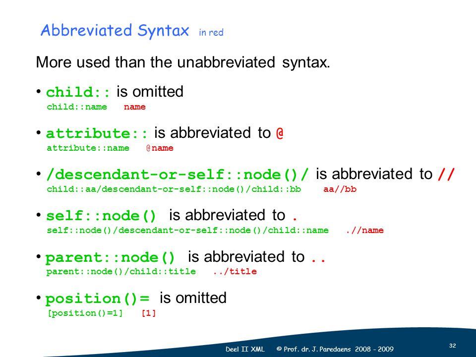 32 Deel II XML © Prof. dr. J.