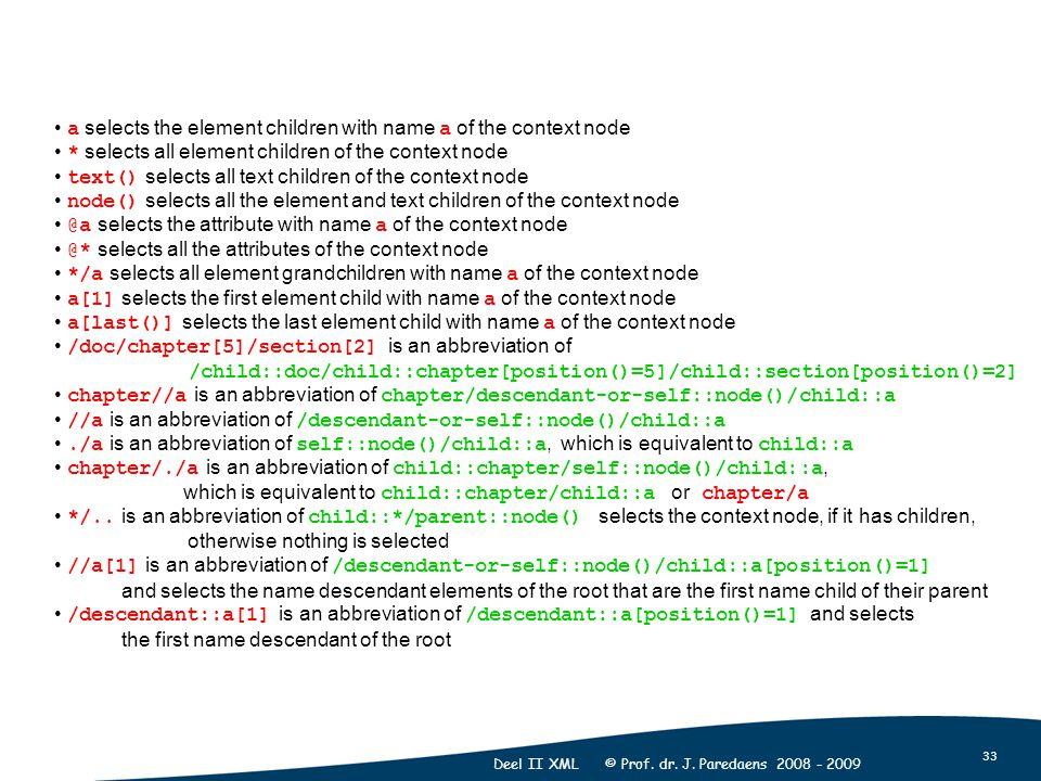 33 Deel II XML © Prof. dr. J.