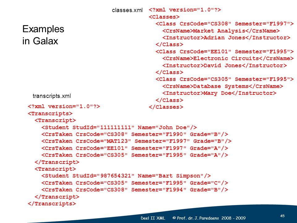 45 Deel II XML © Prof. dr. J. Paredaens 2008 - 2009 Market Analysis Adrian Jones Electronic Circuits David Jones Database Systems Mary Doe Examples in