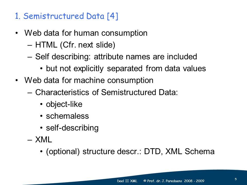 5 Deel II XML © Prof. dr. J. Paredaens 2008 - 2009 1. Semistructured Data [4] Web data for human consumption –HTML (Cfr. next slide) –Self describing: