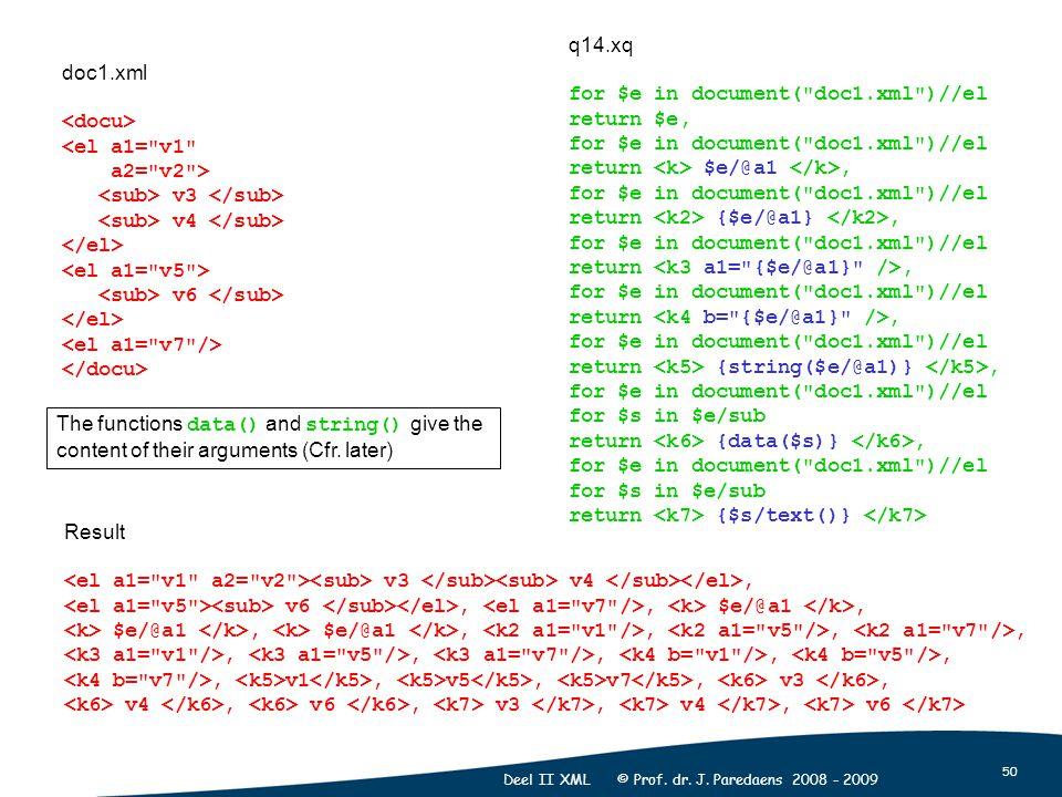50 Deel II XML © Prof. dr. J. Paredaens 2008 - 2009 doc1.xml <el a1=
