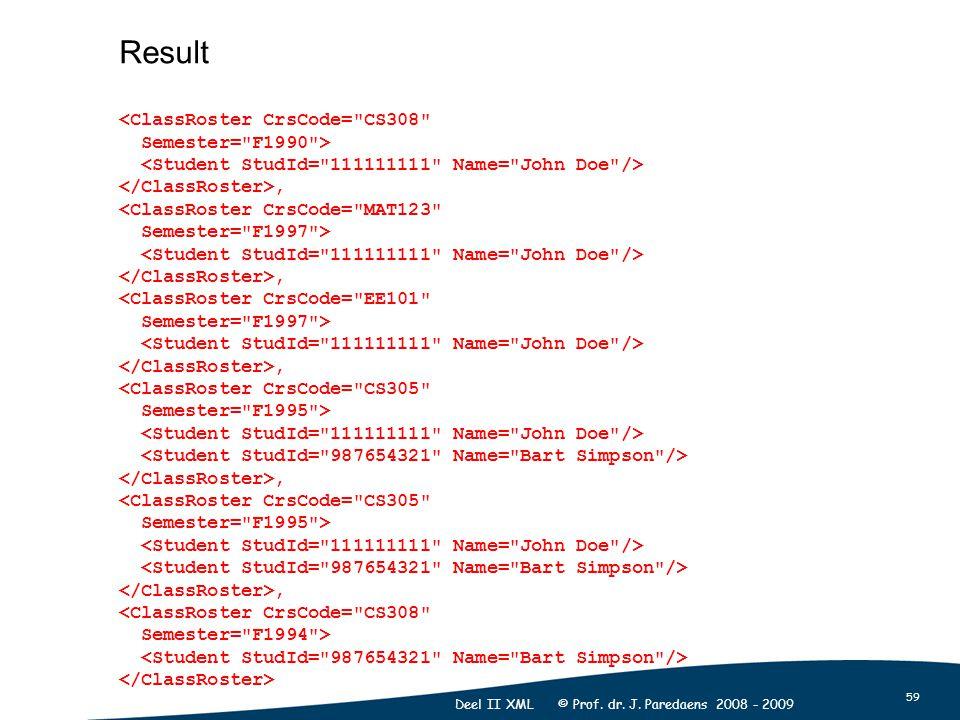 59 Deel II XML © Prof. dr. J. Paredaens 2008 - 2009 Result <ClassRoster CrsCode=