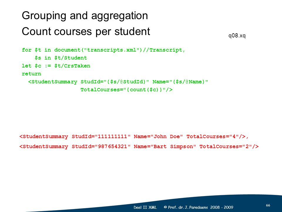 66 Deel II XML © Prof. dr. J. Paredaens 2008 - 2009 Grouping and aggregation Count courses per student for $t in document(