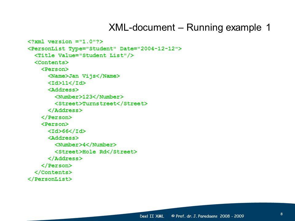 8 Deel II XML © Prof. dr. J. Paredaens 2008 - 2009 Jan Vijs 11 123 Turnstreet 66 4 Hole Rd XML-document – Running example 1