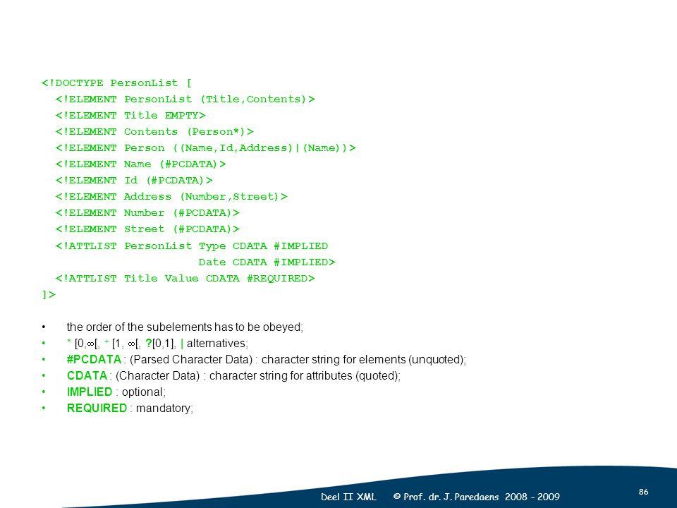 86 Deel II XML © Prof. dr. J. Paredaens 2008 - 2009 <!DOCTYPE PersonList [ <!ATTLIST PersonList Type CDATA #IMPLIED Date CDATA #IMPLIED> ]> the order