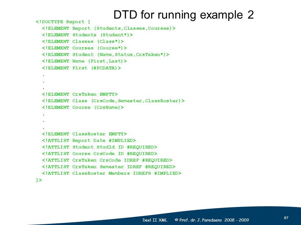 87 Deel II XML © Prof. dr. J. Paredaens 2008 - 2009 <!DOCTYPE Report [.. ]> DTD for running example 2