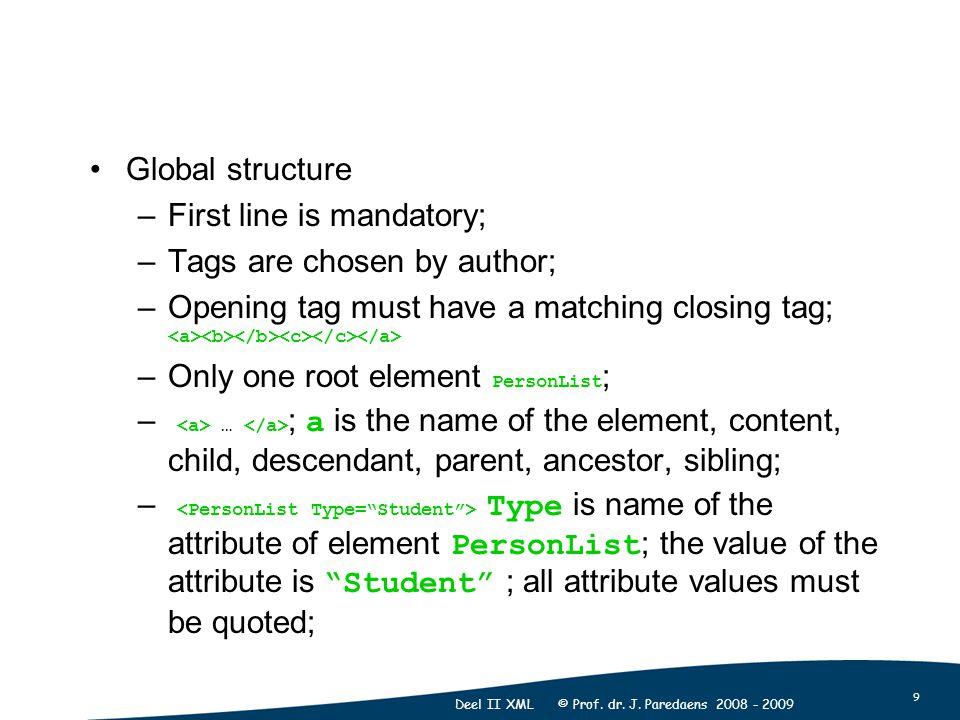9 Deel II XML © Prof. dr. J.