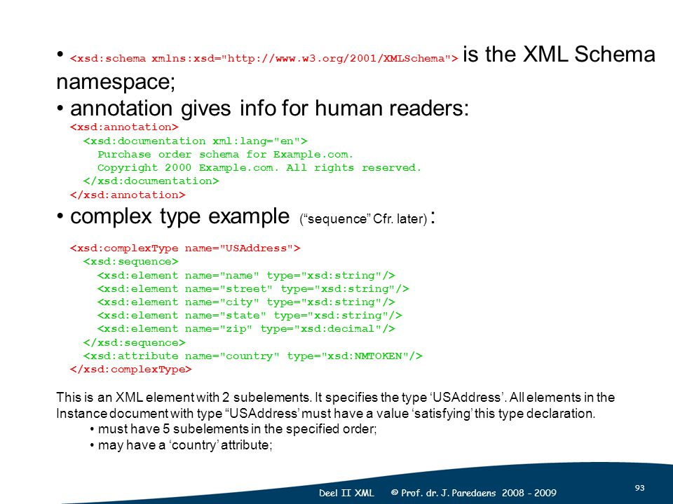 93 Deel II XML © Prof. dr. J. Paredaens 2008 - 2009 is the XML Schema namespace; annotation gives info for human readers: Purchase order schema for Ex
