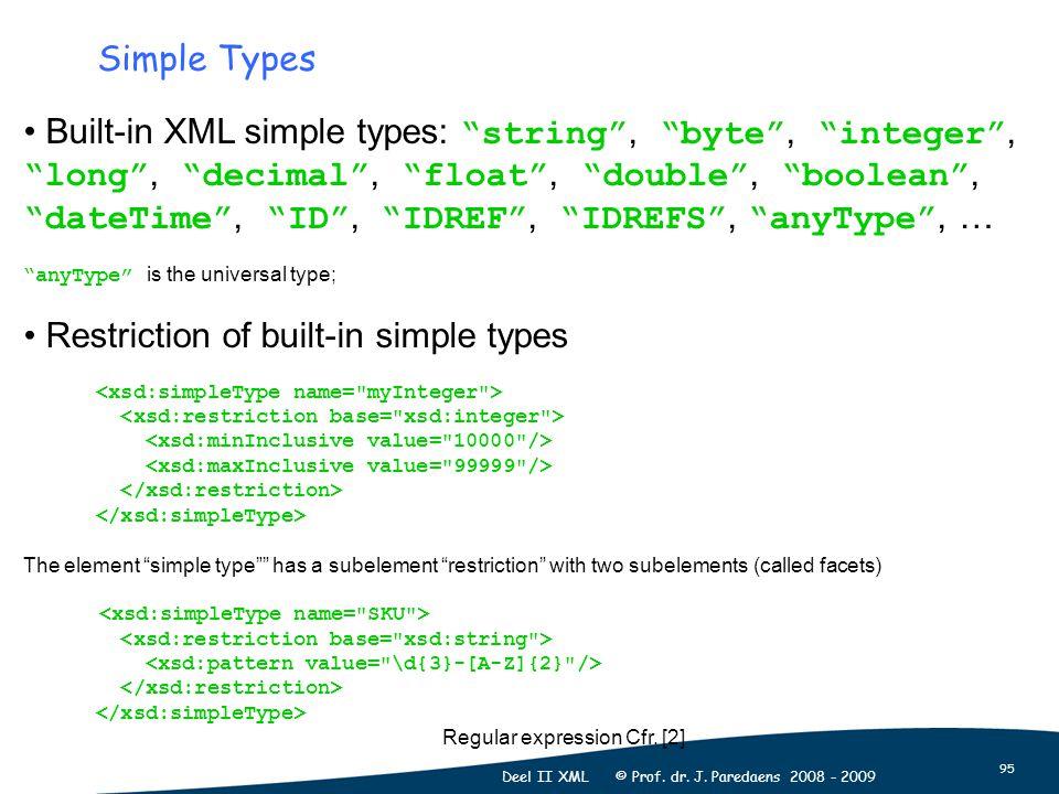 "95 Deel II XML © Prof. dr. J. Paredaens 2008 - 2009 Simple Types Built-in XML simple types: ""string"", ""byte"", ""integer"", ""long"", ""decimal"", ""float"", """