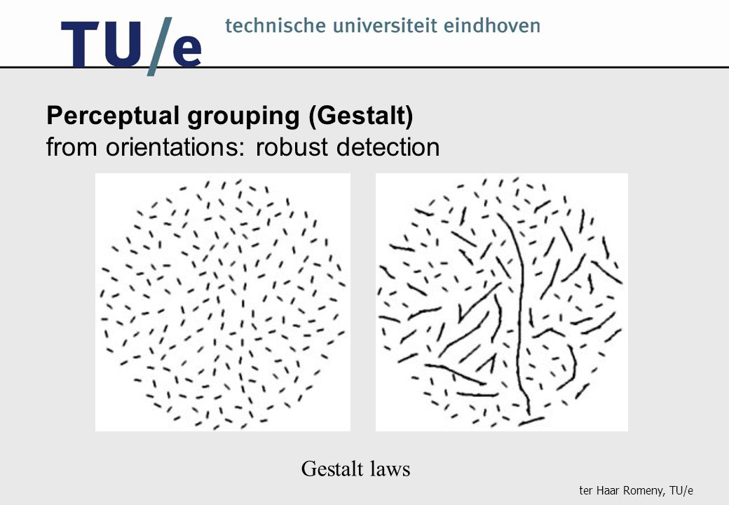 ter Haar Romeny, TU/e Perceptual grouping (Gestalt) from orientations: robust detection Gestalt laws