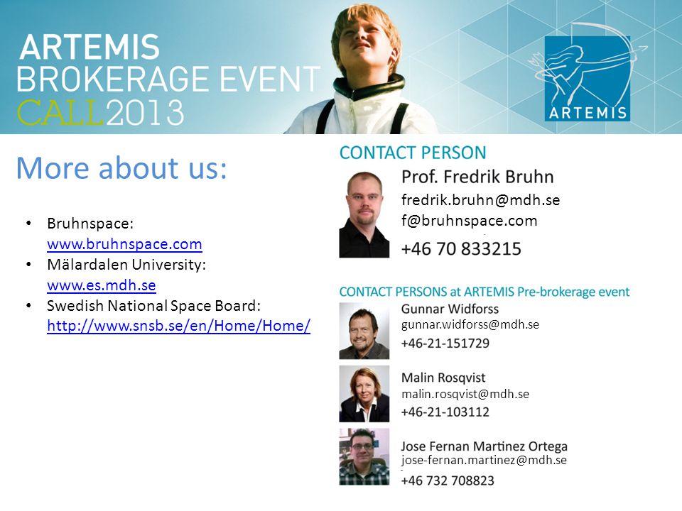 More about us: fredrik.bruhn@mdh.se f@bruhnspace.com gunnar.widforss@mdh.se malin.rosqvist@mdh.se jose-fernan.martinez@mdh.se Bruhnspace: www.bruhnspace.com www.bruhnspace.com Mälardalen University: www.es.mdh.se www.es.mdh.se Swedish National Space Board: http://www.snsb.se/en/Home/Home/ http://www.snsb.se/en/Home/Home/