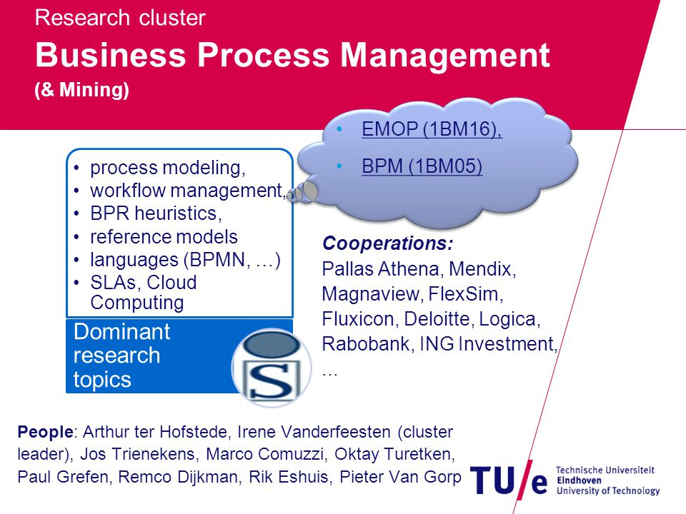 Research cluster Business Process Management (& Mining) People: Arthur ter Hofstede, Irene Vanderfeesten (cluster leader), Jos Trienekens, Marco Comuzzi, Oktay Turetken, Paul Grefen, Remco Dijkman, Rik Eshuis, Pieter Van Gorp process modeling, workflow management, BPR heuristics, reference models languages (BPMN, …) SLAs, Cloud Computing Dominant research topics Cooperations: Pallas Athena, Mendix, Magnaview, FlexSim, Fluxicon, Deloitte, Logica, Rabobank, ING Investment,...