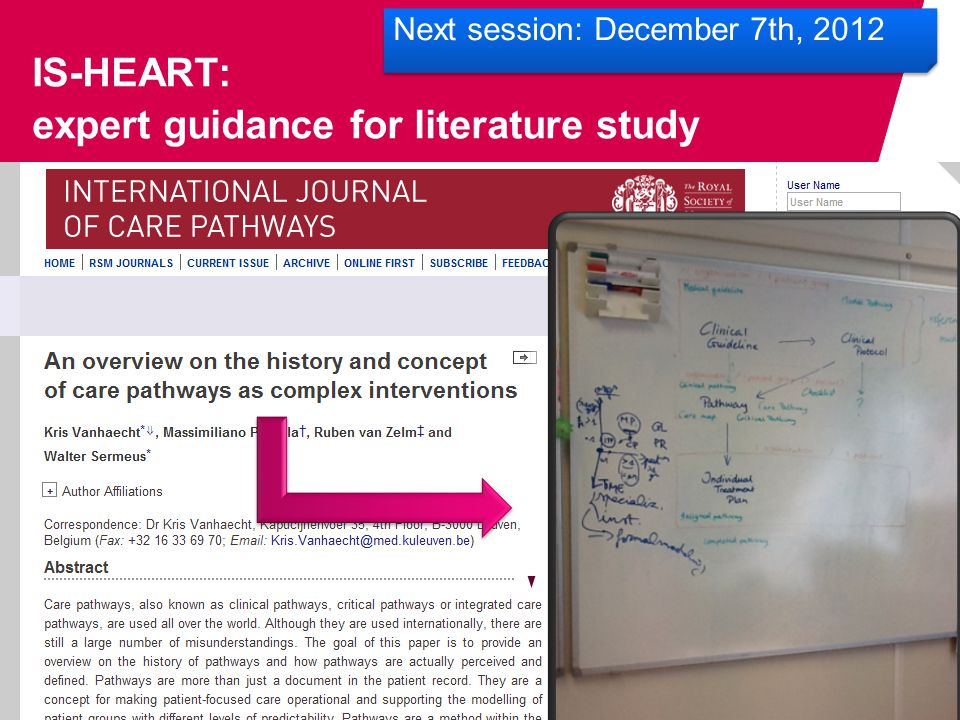 IS-HEART: expert guidance for literature study Next session: December 7th, 2012
