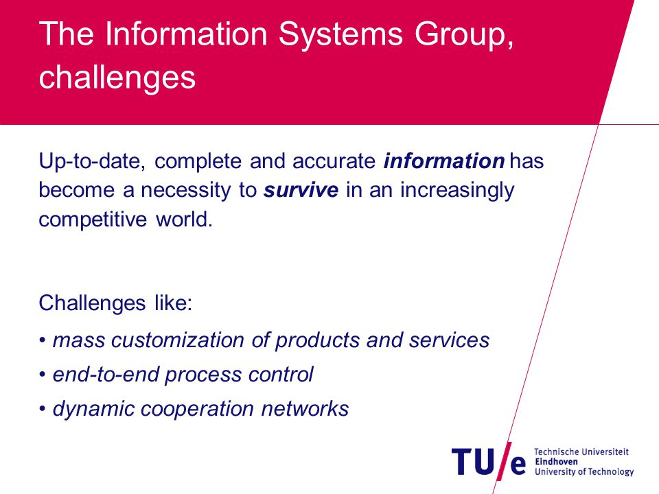 The Information Systems Group, challenges Up-to-date, complete and accurate information has become a necessity to survive in an increasingly competitive world.