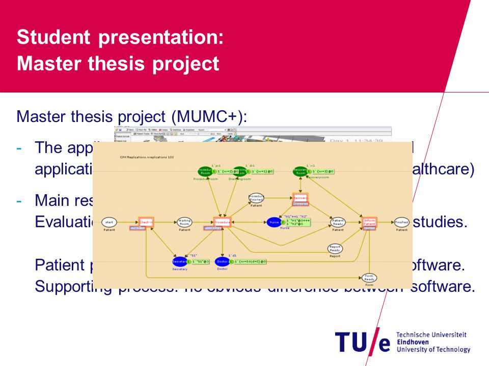 Student presentation: Master thesis project Master thesis project (MUMC+): -The applicability of general-purpose (CPN-tools) and application-oriented simulation software (Flexsim Healthcare) -Main results: Evaluation framework designed and applied to case studies.
