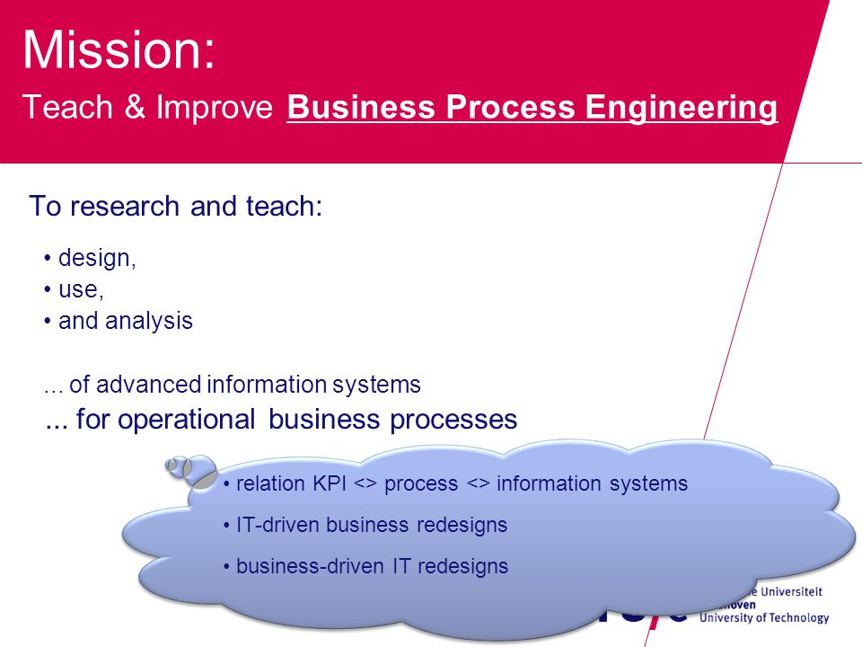 Mission: Teach & Improve Business Process Engineering To research and teach: design, use, and analysis...