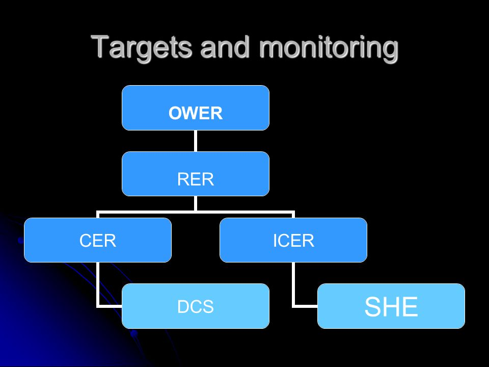 Targets and monitoring OWER RER CER DCS ICER SHE