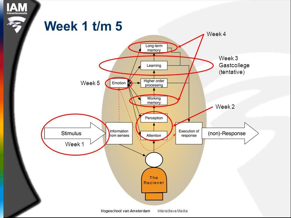 Hogeschool van Amsterdam Interactieve Media Week 1 t/m 5 Week 1 Week 3 Gastcollege (tentative) Week 4 Week 5 Week 2
