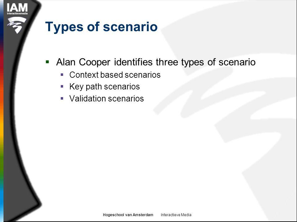 Hogeschool van Amsterdam Interactieve Media Types of scenario  Alan Cooper identifies three types of scenario  Context based scenarios  Key path sc