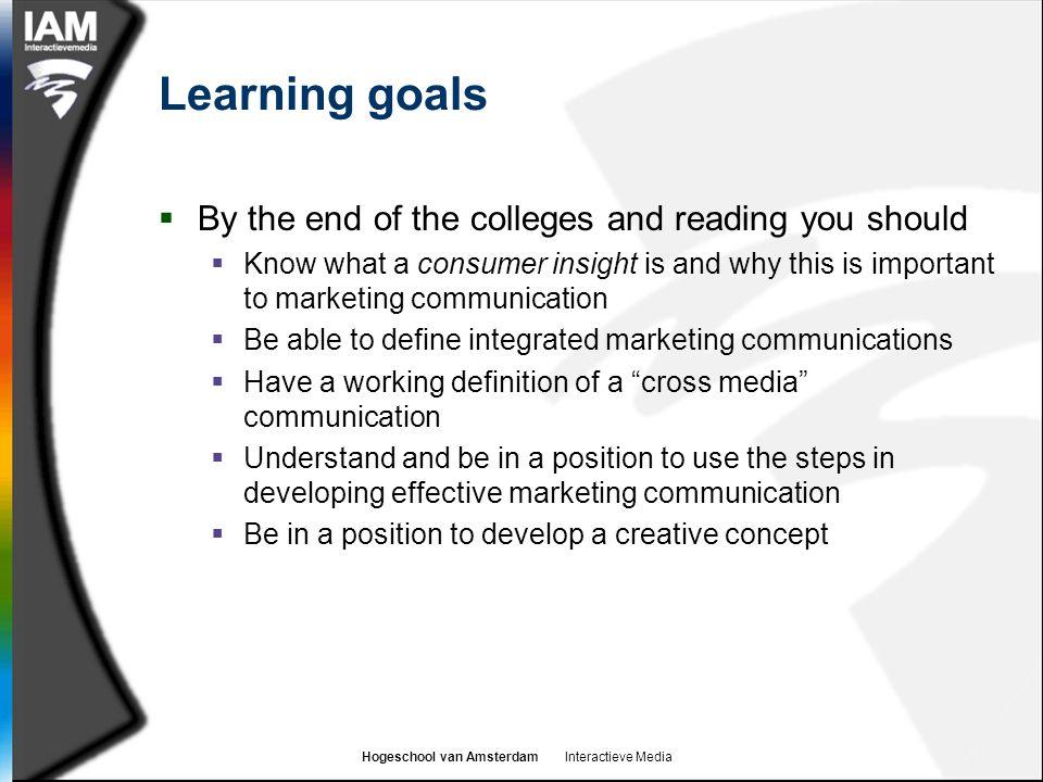 Hogeschool van Amsterdam Interactieve Media Agenda  Consumer insight and marketing communications  Integrated marketing communications (IMC)  What is cross-media communication.