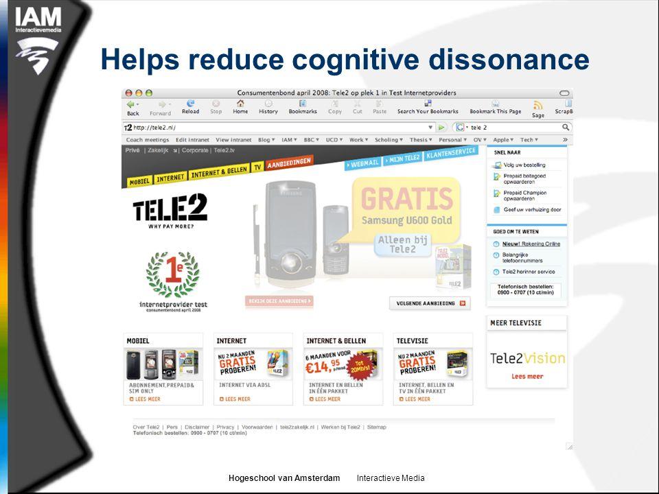 Hogeschool van Amsterdam Interactieve Media Helps reduce cognitive dissonance