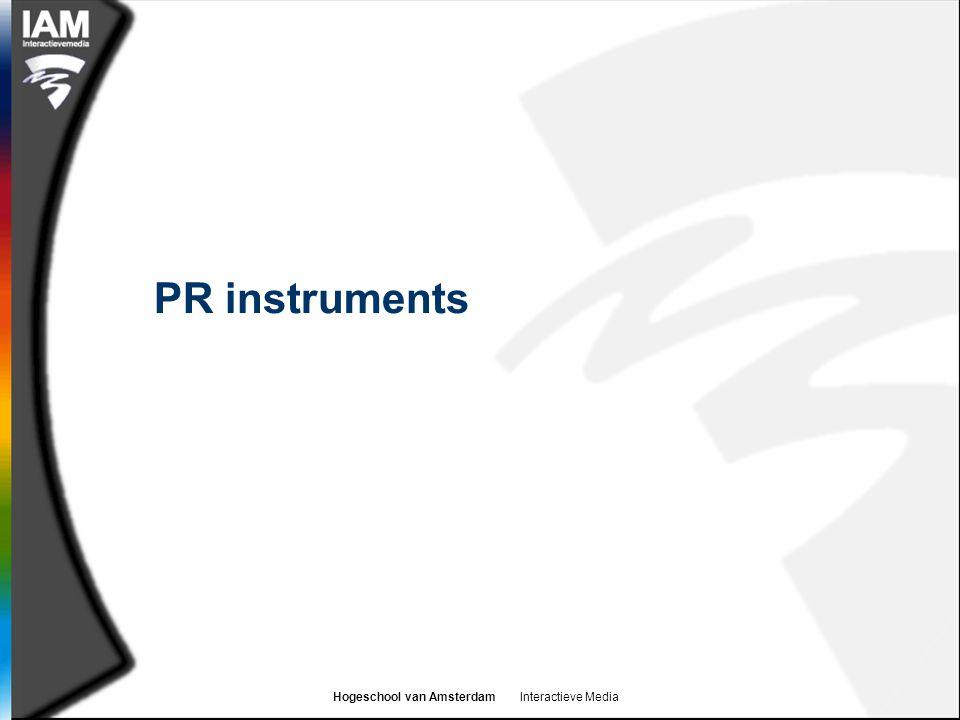 Hogeschool van Amsterdam Interactieve Media PR instruments