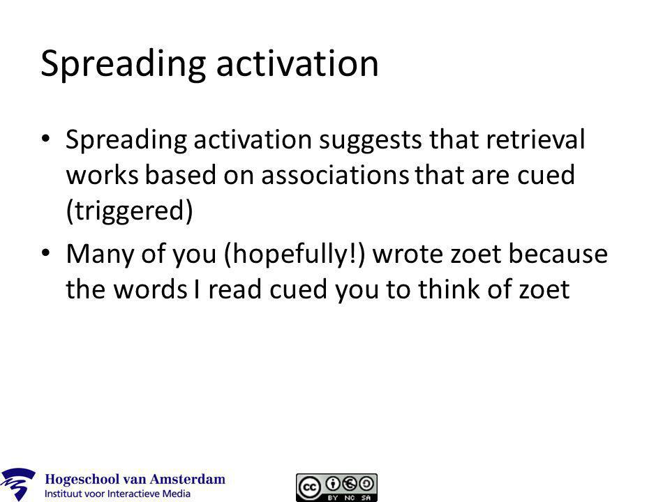 Spreading activation Spreading activation suggests that retrieval works based on associations that are cued (triggered) Many of you (hopefully!) wrote zoet because the words I read cued you to think of zoet