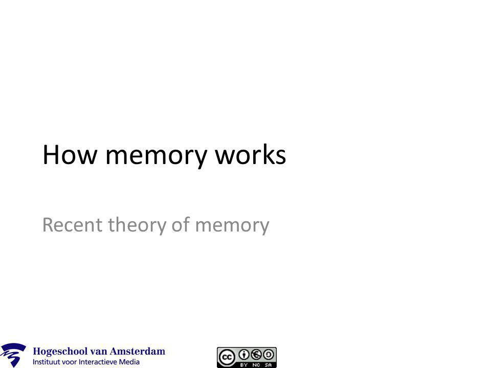How memory works Recent theory of memory